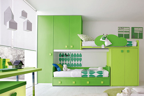 Green and lime green kids bedroom furniture