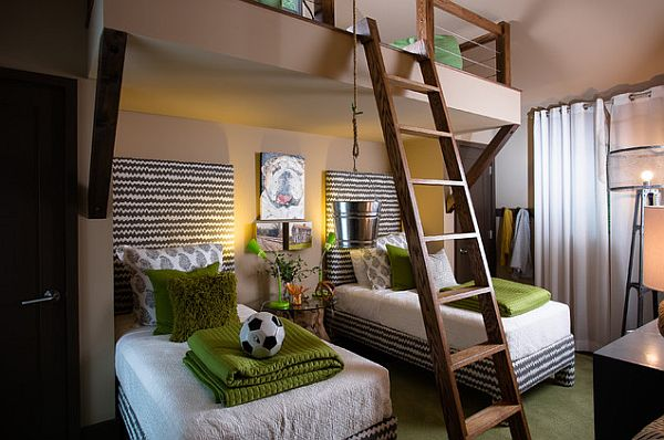 Green themed kids bedroom design