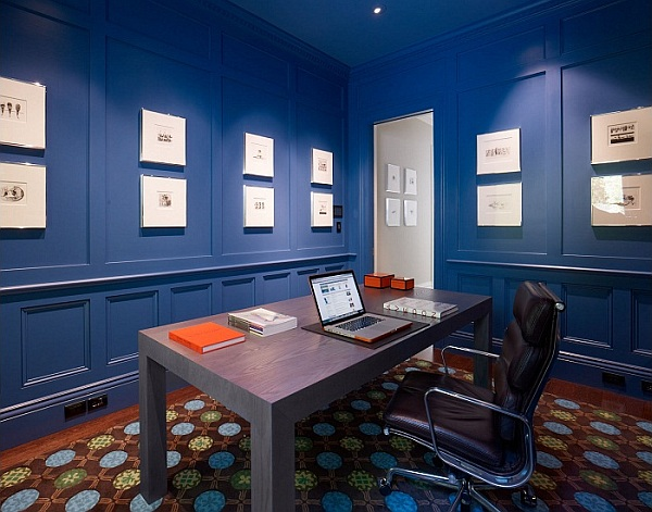 home office with blue walls