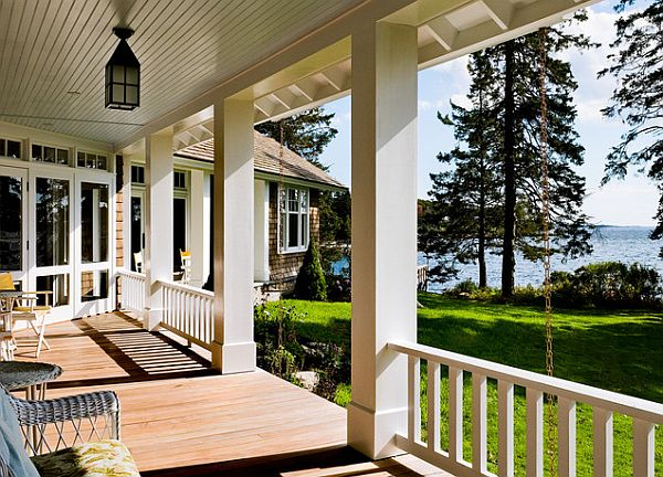 home porch with wood