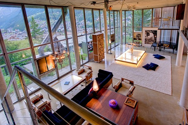 huge tall ceiling Heinz Julen Loft Offers Lavish Comforts Amidst Majestic Swiss Alps