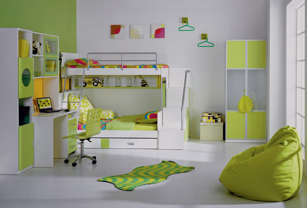 Kids bedroom with green colored furniture