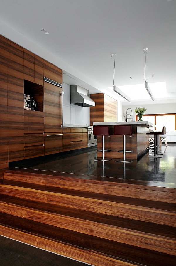 Modern semi minimalist residence wrapped in natural wood for Minimalist kitchen design