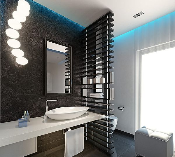 View In Gallery Modern Bathroom With Recessed Lighting And A Stylish  Privacy Screen Part 46