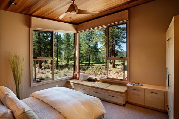 modern bedroom with corner windows