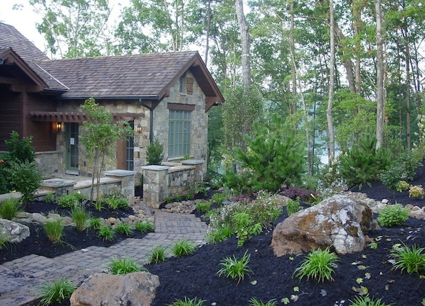 outdoor home mulch dark color