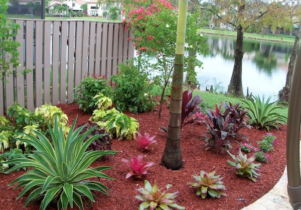 outdoor home red mulch