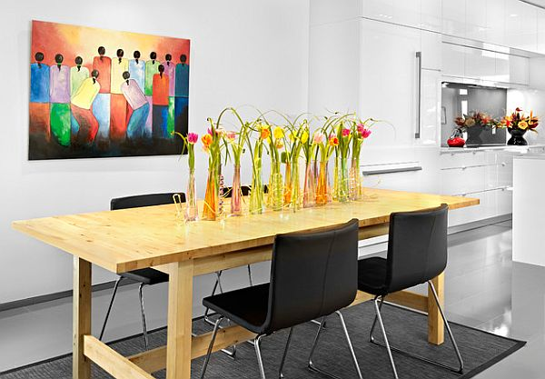 red and yellow dining room flowers