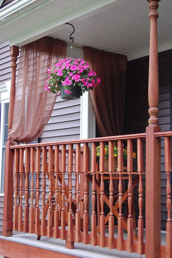 red sheer curtains for the porch