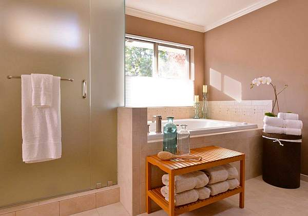 shower with frosted glass for privacy