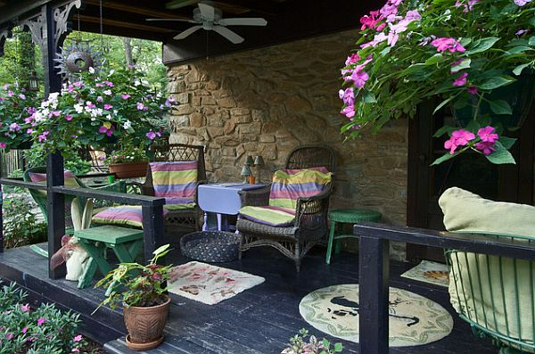 splendid porch with colorful flowers