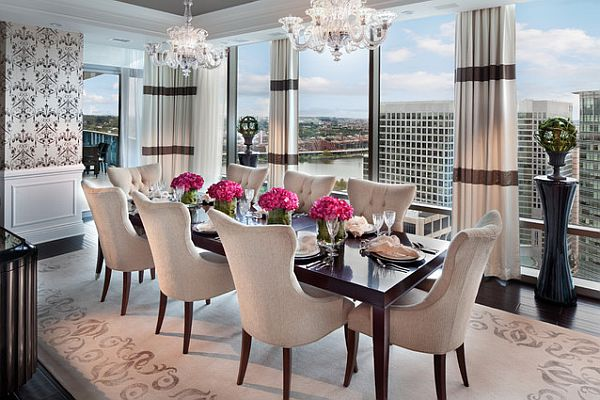 View In Gallery Stunning Dining Table With Flowers Part 25