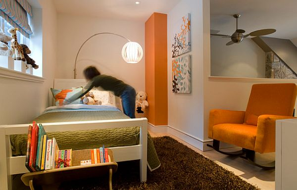 Stunning kids bedroom with green and orange