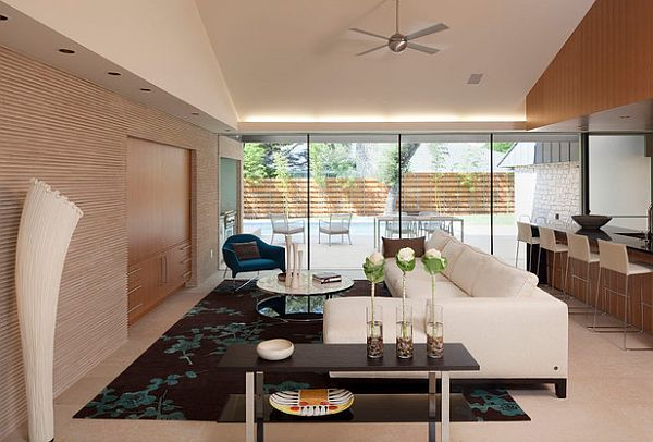 stylish minimalist living room flowers