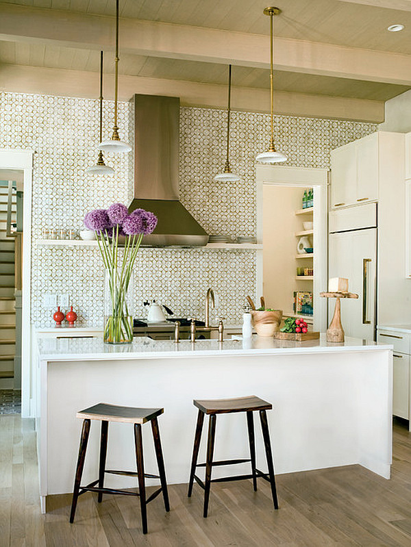 Traditional white kitchen with purple flowers