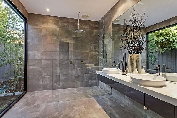 ultra-modern bathroom design with garden