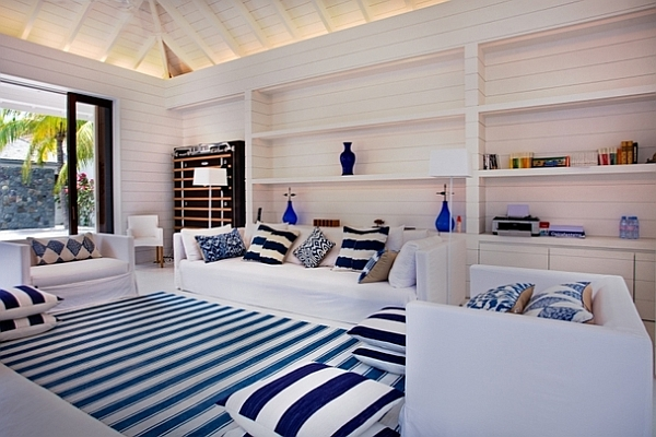 white and blue striped living area