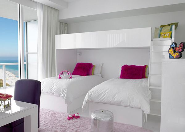 White glossy kids bedroom furniture