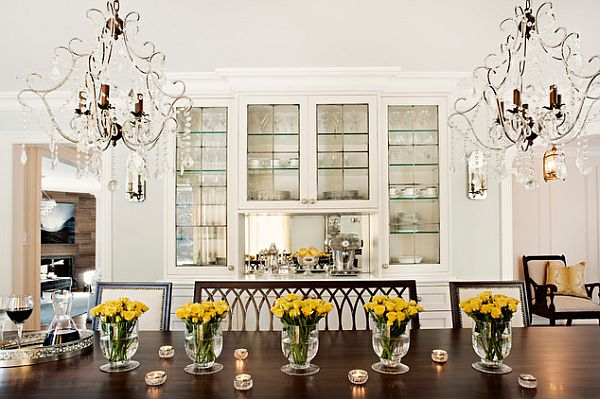 yellow flowers on the table in the dining room