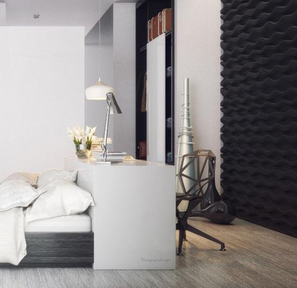 A touch of metal for visual contrast in the modern bedroom