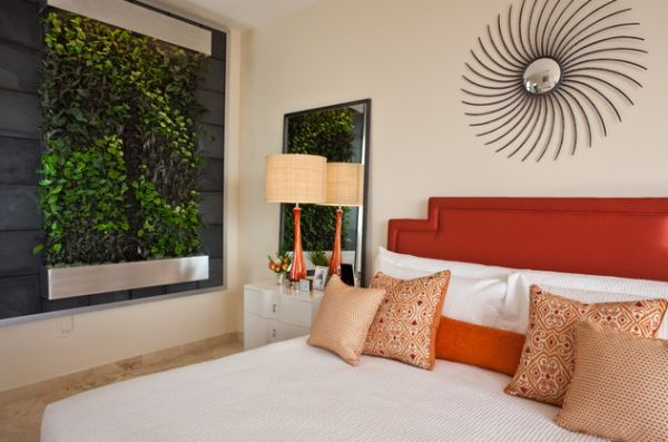 Add a bit of natural green to the modern bedroom