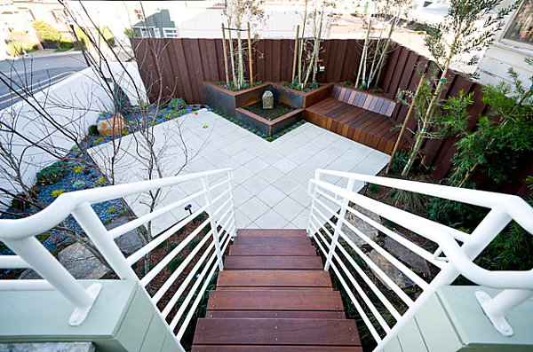 Angular landscaped backyard
