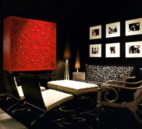 Asian inspired cabinet in red perfect for the black and white living room