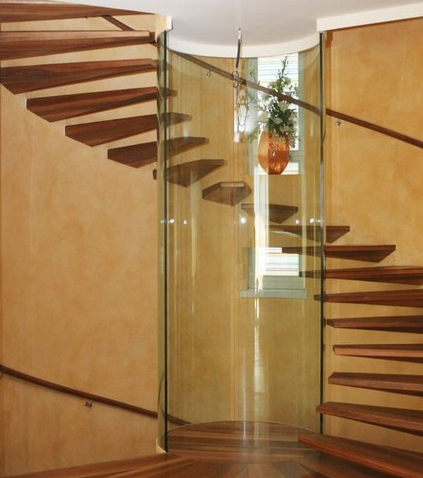 View In Gallery Astonishing Spiral Staircase With Floating Steps And A  Glass Column At Its Heart