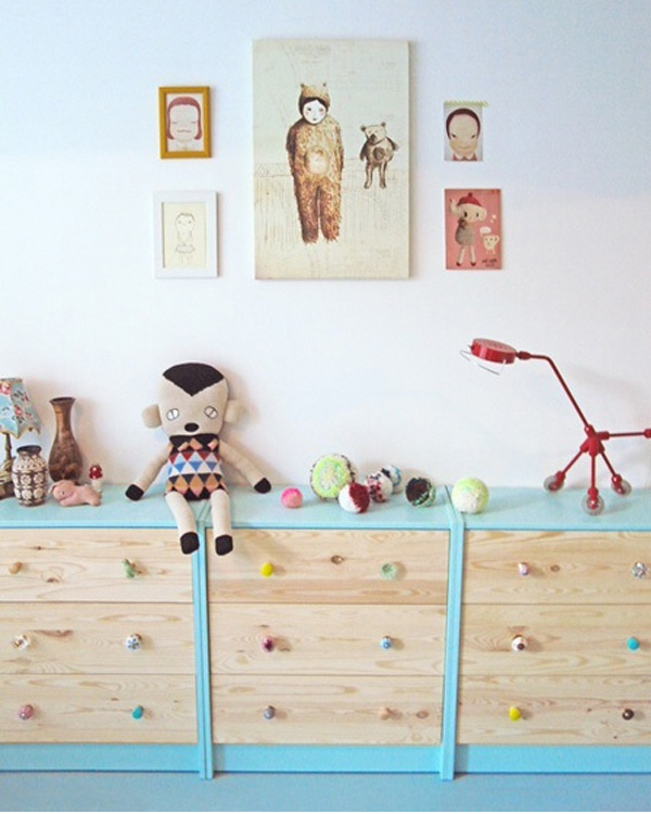 Baby blue dresser toy storage