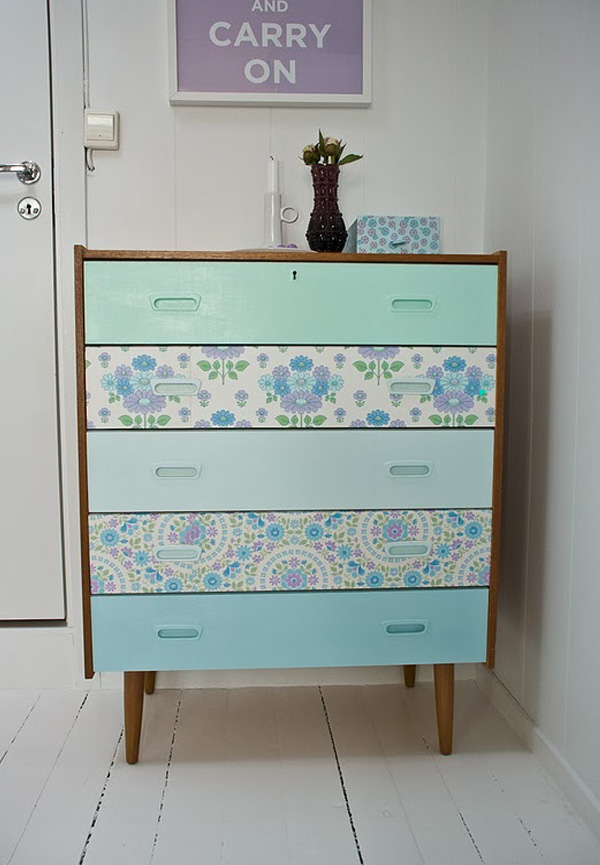Baby blue floral wallpaper dresser DIY