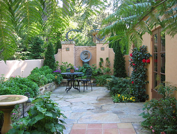 Backyard patio with a lush border
