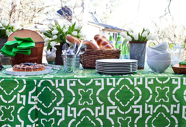 Backyard spring party table