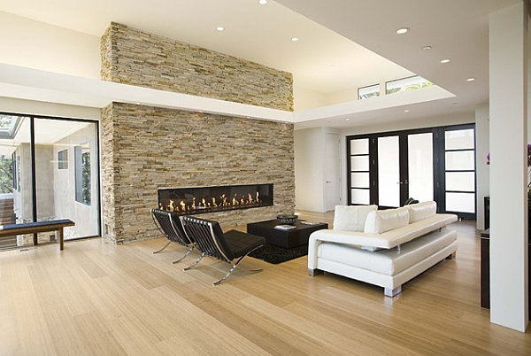 Bamboo flooring in a modern living room