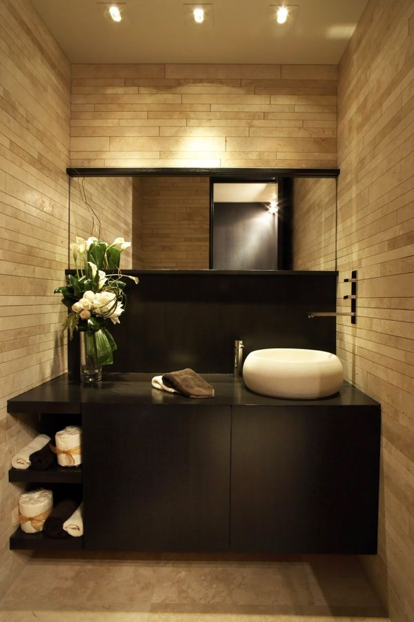 Bathroom vanity in dark tones