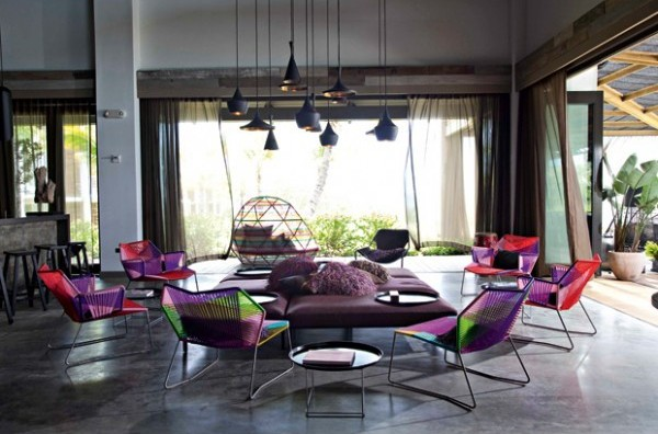 Beat Shades Over Dining Area via Really Nice Things