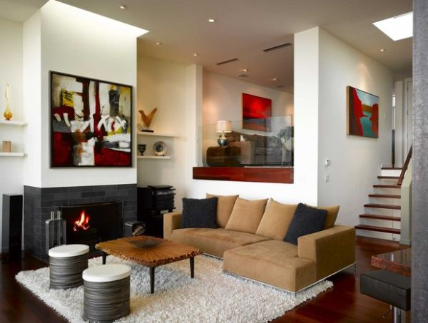 34 modern fireplace designs with glass for the for Modern living room designs india