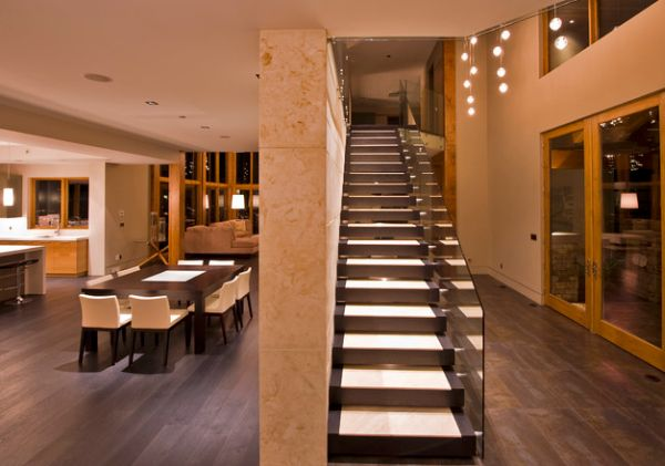 Beautiful floating stairway is both compact and classy