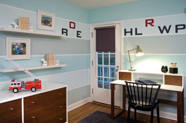 Beautifully organized boys' room with a compact study area