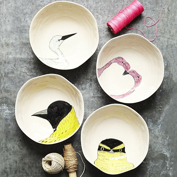 Bird serving bowls