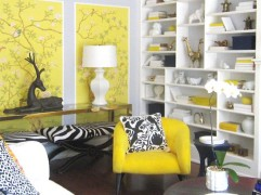 Black and white patterns, zebra stripes and bright yellow help bring in Hollywood Regency style here