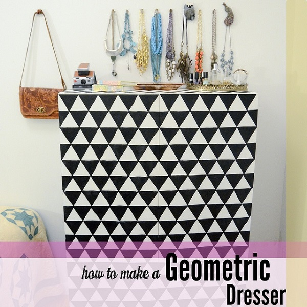 Black and white pyramid dresser DIY