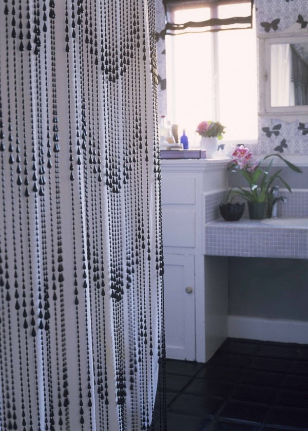 view in gallery black beaded shower curtain diy