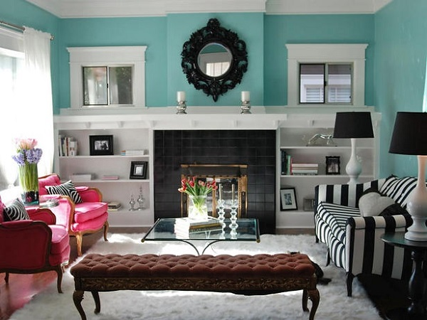 Black tiled fireplace with built in shelves