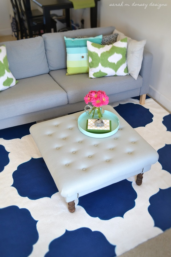 Blue and white painted rug