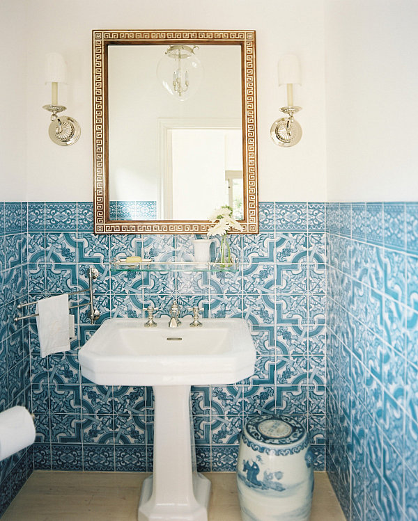 blue tiled bathroom pictures how to decorate a small bathroom 17476