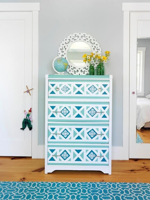 Blue geometric wallpaper dresser DIY