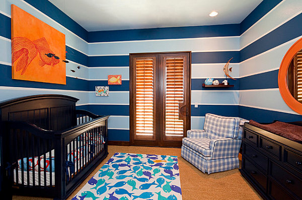 Blue stripes in a traditional meets modern nursery