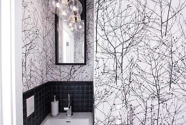 Bold wallpaper in a small bathroom