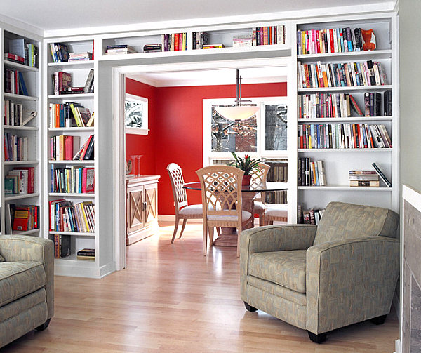 Books line living room shelving