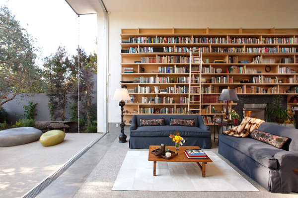 Bookshelves in a modern living room How to Decorate a Bookshelf